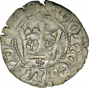 Władysław Jagiełło 1386-1434, Półgrosz, Kraków, Av.: Korona, pod nią krzyżyk, Rv.: Orzeł jagielloński.