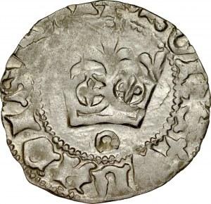 Władysław Jagiełło 1386-1434, Półgrosz, Kraków, Av.: Korona, pod nią litera O, Rv.: Orzeł jagielloński.