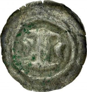Łużyce, Brakteat XIII w., Av.: Klamra, po bokach dwa półksiężyce.
