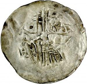Ks. Opolsko-Raciborskie, Władysław II 1163-1177, Denar, Av.: Dwie postacie z chorągwią, Rv.: Krzyż z linii.