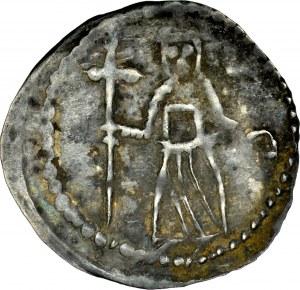 Ks. Opolsko-Raciborskie, Bolesław Wysoki 1177-1195, Denar, Wrocław, Av.: Biskup z krzyżem, litery VS, Rv.: Walka z lwem.