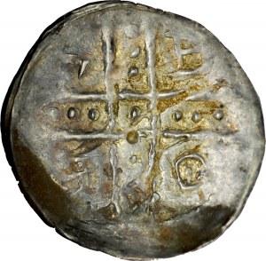 Ks. Opolsko-Raciborskie, Bolesław Wysoki 1177-1195, Denar, Av.: Dwie postacie z chorągwią, litera S, Rv.: Krzyż perełkowy, między jego ramionami napis: BOLE.