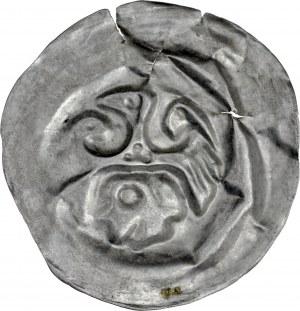 Ks. Raciborsko-Opolskie, Władysław I Opolski 1246-1281/1282, Brakteat, Av.: Orzeł śląski, pod nim głowa, RR.