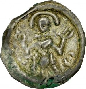 Ks. Wrocławskie, Henryk I Brodaty 1201-1238 lub Henryk II Pobożny 1238-1241, Brakteat ratajski, Av.: Postać z podniesionymi rękoma.