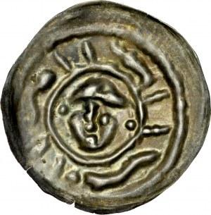 Ks. Wrocławskie, Henryk I Brodaty 1201-1238 lub Henryk II Pobożny 1238-1241, Brakteat ratajski, Av.: Głowa, dookoła imitacja legendy.