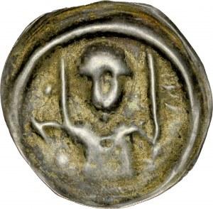 Ks. Wrocławskie, Henryk I Brodaty 1201-1238 lub Henryk II Pobożny 1238-1241, Brakteat ratajski, Av.: Książę z mieczem i proporcem.