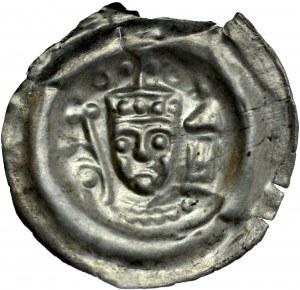 Ks. Wrocławskie, Henryk I Brodaty 1201-1238 lub Henryk II Pobożny 1238-1241, Brakteat, Av.: Głowa księcia w diademie, po bokach lilia i baszta, RR.