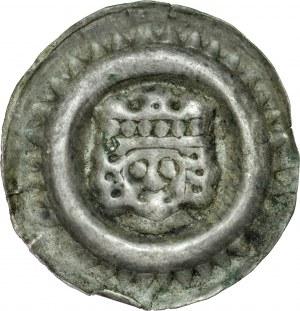 Ks. Wrocławskie, Henryk I Brodaty 1201-1238 lub Henryk II Pobożny 1238-1241, Brakteat szeroki, Av.: Głowa króla w koronie, na obrzeżu wału zęby.