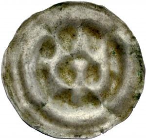 Ks. Wrocławskie, Henryk III lub synowie 1306-1314, Brakteat, Obol, Av.: Trzybasztowa brama, pod nią śląski orzeł.