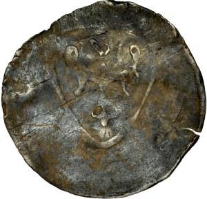 Ks. Oleśnicko-Bierutowsko-Radziejowskie, Konrad I 1322-1366, Halerz, Oleśnica, Av.: Orzeł na tarczy.