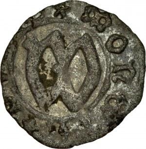 Ks. Cieszyńskie, Wacław I 1431-1442, Halerz, bity przed 1431-1438, Av.: Gotycka litera W, Rv.: Orzeł śląski, RRR.