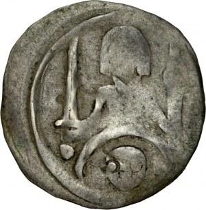 Pomorze Zachodnie, Denar, Av.: Półpostać księcia trzymającego miecz i włócznię, pod nim głowa, Rv.: Gryf, RR.