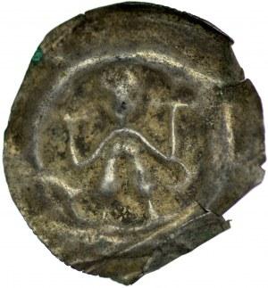 Brakteat guziczkowy II poł. XIII w., Brakteat guziczkowy, nieokreślona dzielnica, Av.: Stojący książę trzyma dwa krzyże.