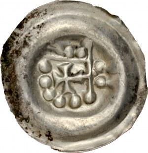 Pomorze Wschodnie, Świątopełk II Wielki 1217-1266, Brakteat guziczkowy, Av.: Ramię z proporcem na lewo, RRR.
