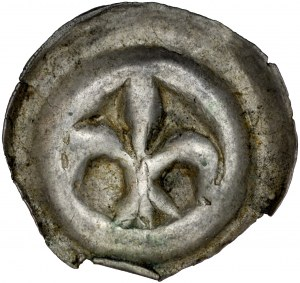 Pomorze Wschodnie, Świątopełk II Wielki 1217-1266, Brakteat guziczkowy, Pomorze Gdańskie, Av.: Lilia, RR.