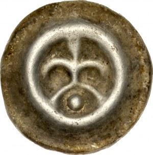 Pomorze Wschodnie, Świątopełk II Wielki 1217-1266, Brakteat guziczkowy, Pomorze Gdańskie, Av.: Lilia na łuku, pod nim kropka, RR.