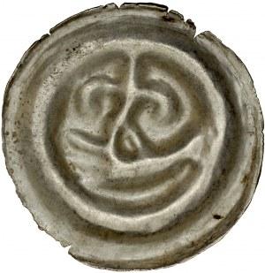Pomorze Wschodnie, Świątopełk II Wielki 1217-1266, Brakteat guziczkowy, Pomorze Gdańskie, Av.: Lilia na dłoni, RR.