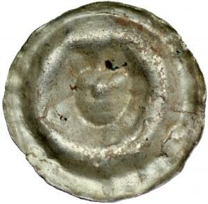 Brakteat guziczkowy II poł. XIII w., nieokreślona prowincja, Av.: Głowa, dookoła niej kropki.