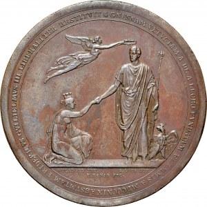 Medal 1823, wybity jako podziękowanie mieszkańców miasta Gniezna królowi pruskiemu Fryderykowi Wilhelmowi III za pomoc w odbudowie miasta po pożarze z 1819 roku.
