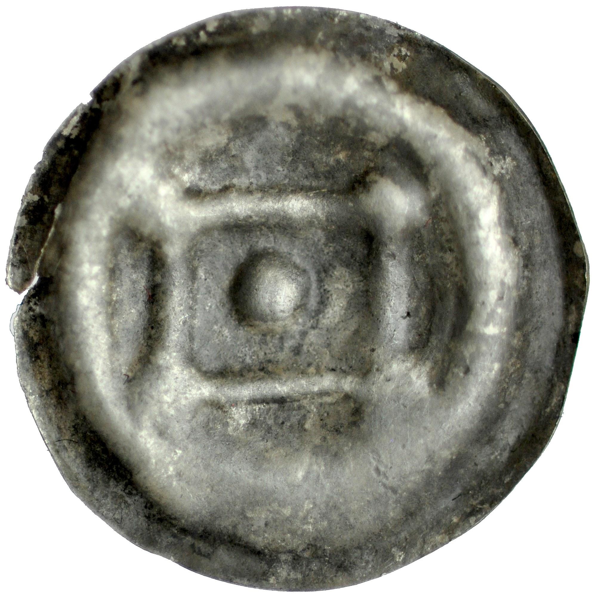 Brakteat guziczkowy II poł. XIII w., Mazowsze? Kujawy?, koniec XIII w., Av.: Romb, w jego rogach po kropce, centralnie duża kropka.