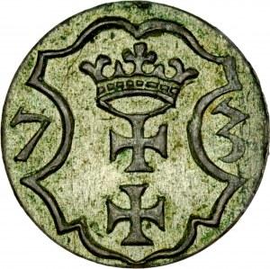 Denar 1573, Gdańsk, Bezkrólewie, RR.
