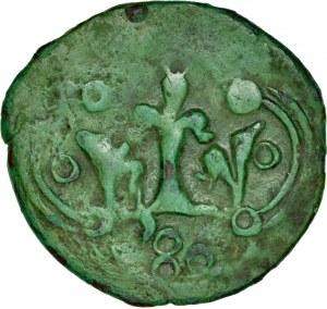 Kazimierz Wielki 1333-1370, Denar ruski, Av.: Korona w ornamencie, z boku trzy kropki, Rv.: Korona w ornamencie, RRR.