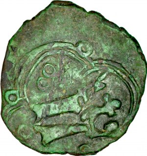 Ludwik Węgierski 1370-1382, Denar ruski, Av.: Ukoronowana litera L, Rv.: Korona.