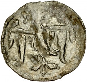 Ludwik Węgierski 1370-1382, Denar, Kraków. Av.: Orzeł piastowski, Rv.: Tarcza herbowa Andygawenów.