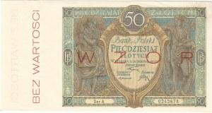 50 złotych 28.08.1925, seria A. 0245678, WZÓR.
