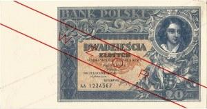 20 złotych 20.06.1931, seria AA. 1234567, WZÓR.