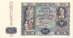 20 złotych 11.11.1936, seria AM 1234567, WZÓR.