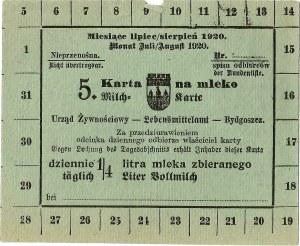 Karta żywnościowa, Bydgoszcz, lipiec/sierpień 1920.