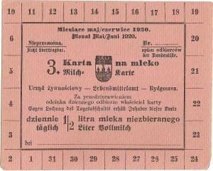Karta żywnościowa, Bydgoszcz, maj/czerwiec 1920.