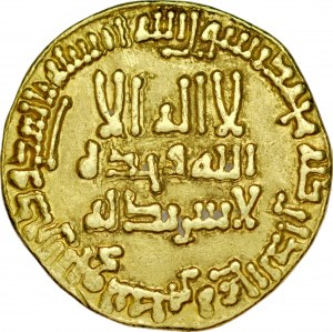 Dinar AH203, bez mennicy, al-Mamun AH 196-218.