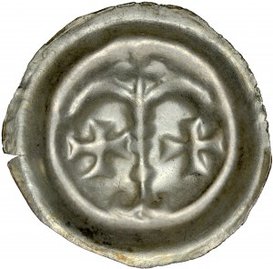 Brakteat guziczkowy, Av.: Dwa łuki wsparte na słupie, pod nimi dwa krzyżyki, nad słupem trzy kropki.