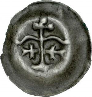 Brakteat guziczkowy, Av.: Dwa łuki wsparte na słupie, pod nimi dwa krzyżyki, trzy kropki.