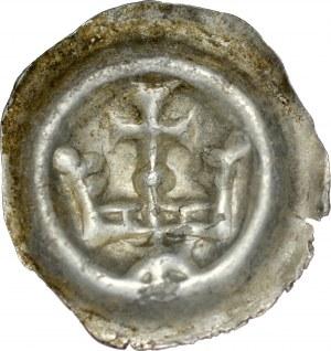 Brakteat guziczkowy, Av.: Korona, nad nią krzyżyk wsparty na kropce, pod nią gwiazda.