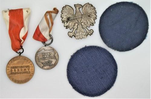 Zestaw 5 szt naszywki, medale, orzełek