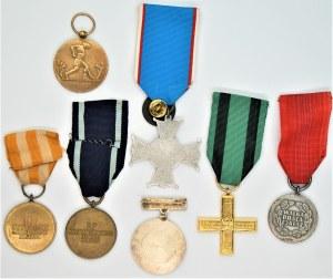 Zestaw odznaczeń 7 sztuk m.in. medal Dziesięciolecia Odzyskanej Niepodległości 1928