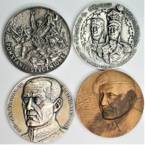 Zestaw 4 medali - Bortnowski, Maczek, Powstanie Styczniowe, Twórcom Hymnu Narodowego