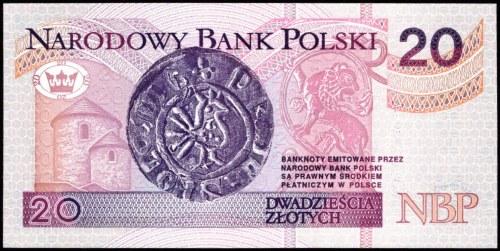 20 złotych 1994 - AA 0002165 - druk TDLR Londyn