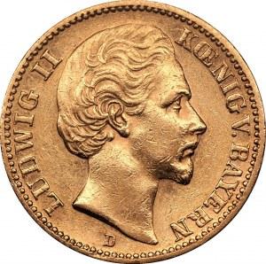 NIEMCY - Ludwik II - 20 marek 1873 D - Bawaria - złoto Au900