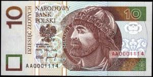 10 złotych 1994 - AA 0001114 - druk TDLR Londyn