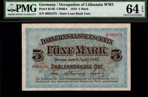 KOWNO - 5 marek 1918 - B - PMG 64 EPQ