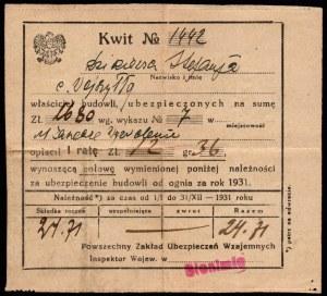 Kwit zapłaty składki ubezpieczenia 1931 - PZUW