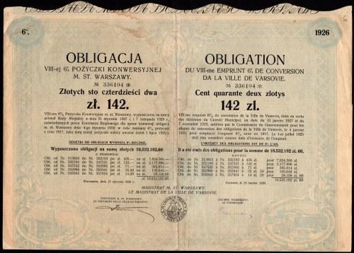 Pożyczka Konwersyjna m. st. Warszawy - obligacja 142 złote 1930