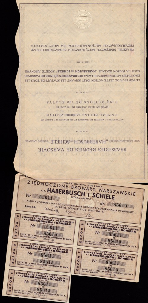 Zjednoczone Browary Warszawskie Haberbusch i Schiele - Em.2 - 5 x 500 złotych