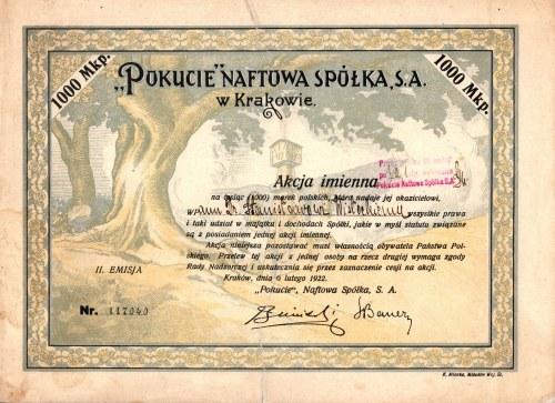 POKUCIE Naftowa Spółka SA - Em.2 - 1000 marek polskich 1922 - akcja imienna