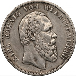 NIEMCY - Wirtembergia - Karol - 5 marek, 1876 - (F) Stuttgart