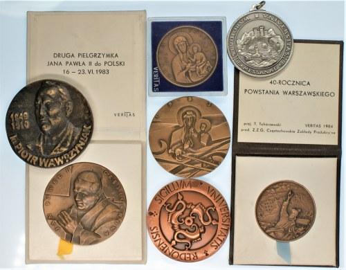 Zestaw 7 Medali różna tematyka min. - Jan Paweł II, 40 rocznica Powstania Warszawskiego, Ks P. Wawrzyniak -